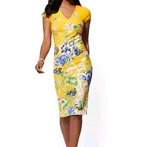 NY&C Yellow Floral V-Neck Sheath Dress